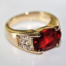 Wunderschöner DamenRing Gold 18K GF(750) Rubin Granat rot Gr. 57 Ø18,1 gest 925