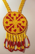 Native American Bead Work Necklace Long Great Design Ylw, Red Indian No. Arizona