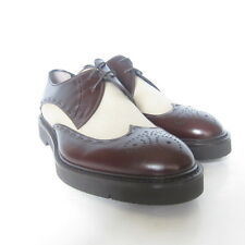 W-1925175 New Fendi Oxford Leather/Fabric Brown/Sandy Fawn Shoe Size9 US-10