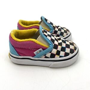 VANS Off the Wall Baby Toddler Girls Size 3 Checkered Slip On Shoes Sneakers