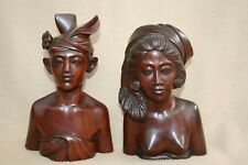More details for pair of lovely vintage finely carved balinese busts