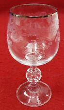 IMPORT ASSOCIATES crystal SILVER LACE pattern Wine Goblet or Glass - 5-7/8""