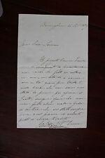 ✒ L.A.S. Emma ALBERTAZZI contralto anglaise à Carlo SEVERINI 22 septembre 1839