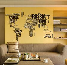 Alphabet World Map Wall Sticker Vinyl Mural Decal for Living Room Decor
