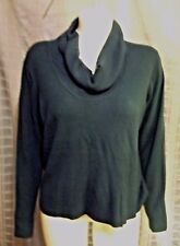 """Size 1X No Label bluish teal cowl neck long sleeve sweater Chest 52"""" X Len 26"""""""