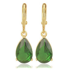 Womens Fashion yellow Gold Filled Tear Drop Green CZ  Ear Dangle Earrings lucky