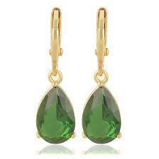 fashion 9K Solid Gold Filled Emerald Green CZ Womens Water Drop Dangle Earrings