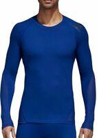 adidas AlphaSkin Sport Mens Long Sleeve Compression Training Top Blue Running