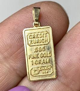 14k Gold Credit Zurich pendant. 585, 1 gram ingot Charm. Vintage Jewelry.