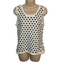 RSVP By Talbots Tank Top Women's M Cream Black Polka Dot Sweater Cotton Blend