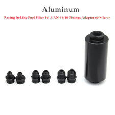Aluminum Racing In-Line Fuel Filter With AN 6 8 10 Fittings Adapter 60 Micron