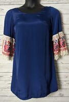 Judith March S Small Shift Dress Embroidered Sleeve Navy Blue Lined Boho