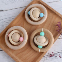 Baby Teething Silicone Beads Wooden Ring Chewable Pram Toy Rattle Stroller Toys