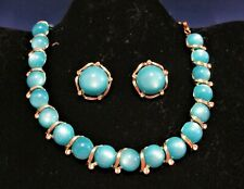 Vintage LISNER Turquoise Thermoset Cabochon Necklace Earring Set Demi Parure