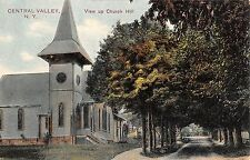 central valley  new york view up church hill L4601 antique postcard