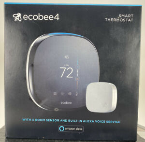 ecobee 4 EB-STATE4-01, Smart Thermostat with Sensor, Black