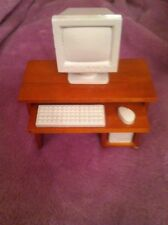 Dolls House 1:12th Office Desk - Work Station Complete With Computer