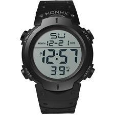 Impermeabile Silicone Uomo LCD digitale Data Sport Cronometro Orologio HONHX cn