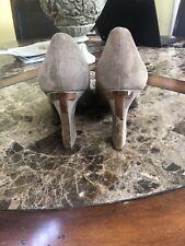 TORY BURCH Style 22128535 Peep Toe Women's High Heel Beige Nubuck Size 10