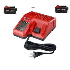 MILWAUKEE 48-11-1850 M18 5.0AH REDLITHIUM 2-Pack PLUS CHARGER w/ warranty!!