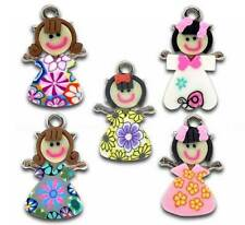 20 Mixed Multicolor Polymer Clay Girl Charms Pendants