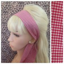 RED COUNTRY GINGHAM CHECK HAIR SCARF HEAD BAND SELF TIE BOW CUTE RETRO 50s STYLE