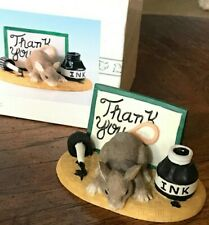Retired Charming Tails Figurine Thank You 98/700 ~ Mouse/mice w/ink & note card