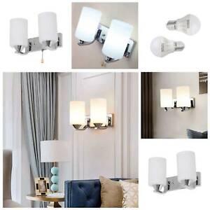 Indoor Aisle Glass Single / Double headed Wall Light Sconce Lamp LED Bulb White