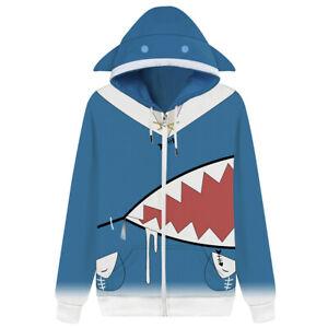 Hololive English VTuber Gawr Gura Cosplay Hoodie Printed Men Women Zip Up Jacket
