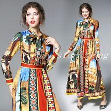 Women's Boho Floral Slim Fit Sweet Bowtie Printed Long Sleeve Maxi Dress Evening
