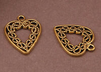 wings heart 2PC Tibetan Gold Bead Charms Accessories wholesale PJ1658