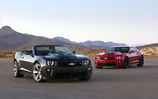 2013 CHEVY CAMARO ZL1 POSTER 24 x 36 INCH   CONVERTIBLE GREY AND RED