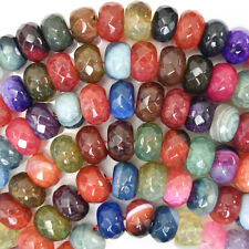 """12mm faceted multicolor agate rondelle beads 15"""" strand"""