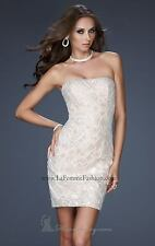 NEW LA FEMME Strapless Sequin Lace Crystal DRESS SIZE 10 $358 IVORY/NUDE