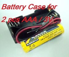 5 lot of Battery Box Holder Case for 2 packs AAA, 3A  3V Cell w/6'' Leads wire