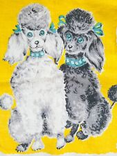 New listing Vintage Tea Towel Linen French Poodles Dogs Puppies Mcm Very Clean