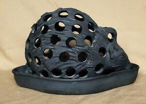 Victorian Wedgwood Basalt Hedgehog Crocus Pot and Tray Dated 1860