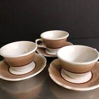 Jackson China Restaurant Ware Cups Saucers Set 3 VTG Brown Scallop Made USA MCM