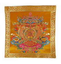 Tibetische Decke - Glückssymbole Ashtamangala - Brokat - Nepal
