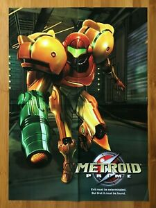 2002 Official Metroid Prime/Gamecube Console Foldout Poster Authentic Original