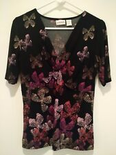 Chico's Butterfly Print Shirt ~ V-Neck ~ Chico's Size 0 Women's Small Approx 4