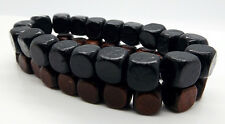 Black Brown Wood Bead Bracelets 2pcs Beaded Stretchy Wristband By TaKuKai Beads