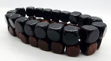 Negro Marrón Madera del grano Pulseras 2 un. con cuentas pulsera elástica por takukai granos