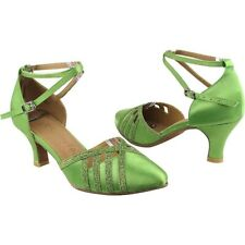 Very Fine Dance Shoes Ladies Green Satin Ballroom Dance Shoe in size 9.5 SERA