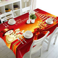 Red Christmas 3D Tablecloth Table cover Cloth Rectangle Wedding Party Banquet