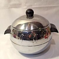 Vtg Retro MCM West Bend Chrome Penguin Hot/Cold Ice Bucket w Bakelite Handles