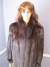 YUMMY! MINK fur coat with FOX tuxedo collar MEDIUM dark brown jacket