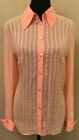 Escada Womens Button Down Blouse Sz 40 Orange Striped Collared Long Sleeve Silk