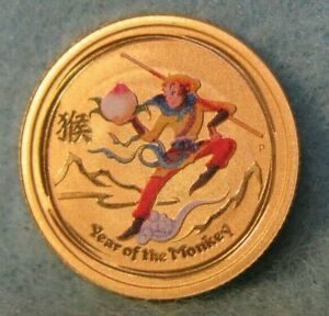 2016 Australia Year Of The Monkey Colorized $5 1/20 Oz 9999 World Gold Coin