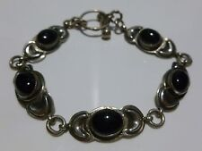 """Silver & Onyx Panel Bracelet 7.75"""" Estate Vintage Victor Hicks Navajo Sterling"""
